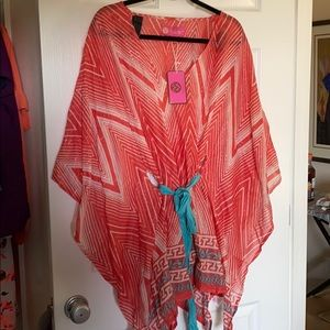 Gorgeous tunic coral white/teal with silver woven